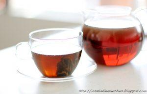Clarified chicken stock, steeped with jasmine tea