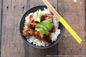 Tender, slow roasted pork belly is braised in a soy based sauce, and served on rice, garnished with coriander.