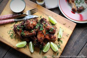 Wings, brined in beer and dusted with spices, perfect for the barbecue.
