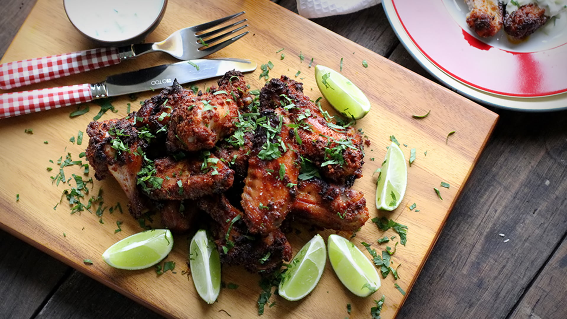 Wings, brined in beer and dusted with a spice mix. Perfect for a hot summer's day
