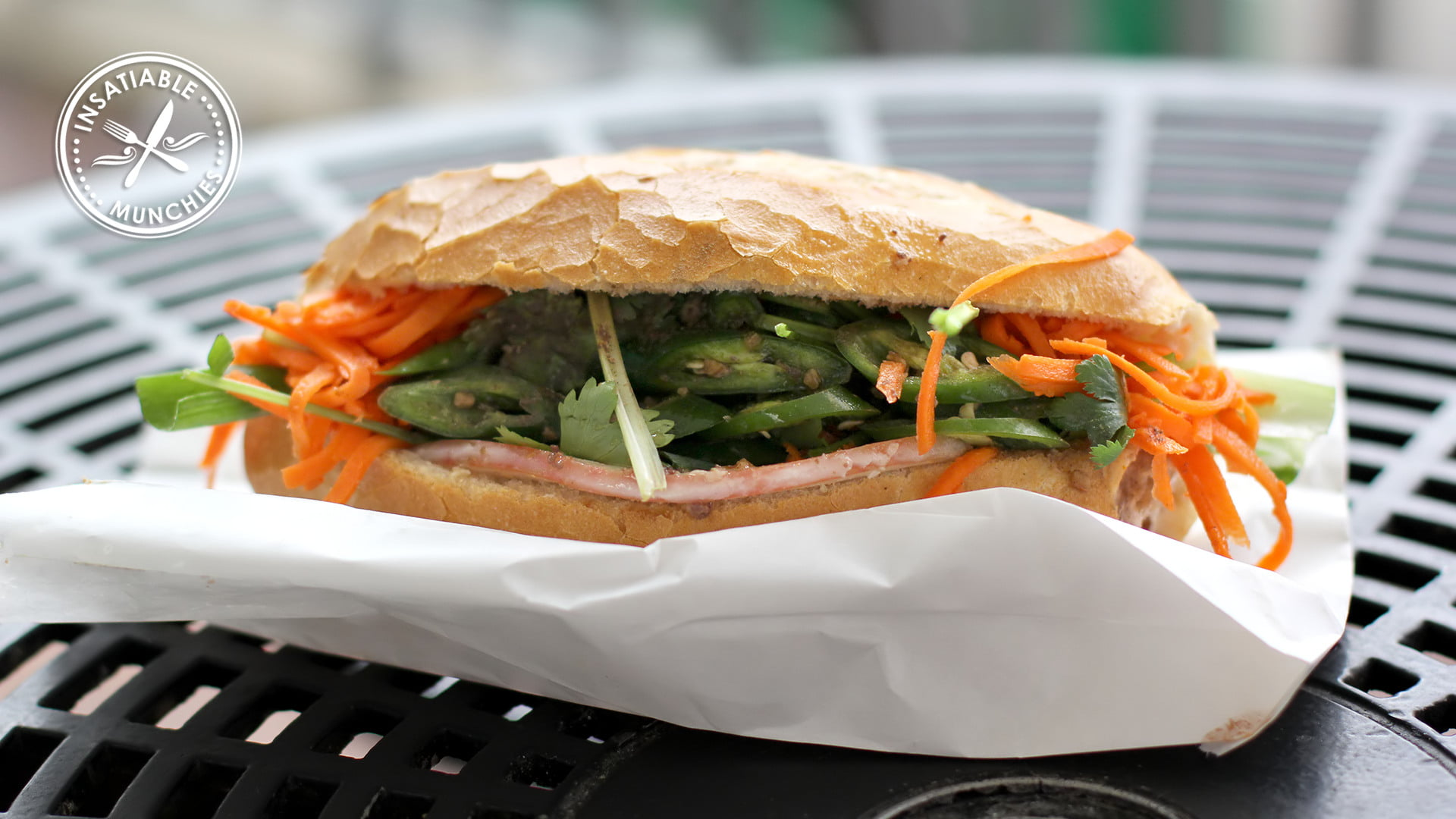 Vietnamese Pork Roll with Cucumber, Coriander, Spring Onion, Mayo, Paté, and plenty of pickled carrots