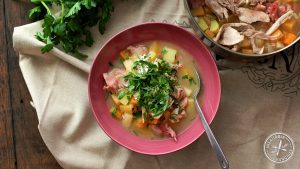 Man soup: made with ham hock meat, root vegetables, chicken and lemon