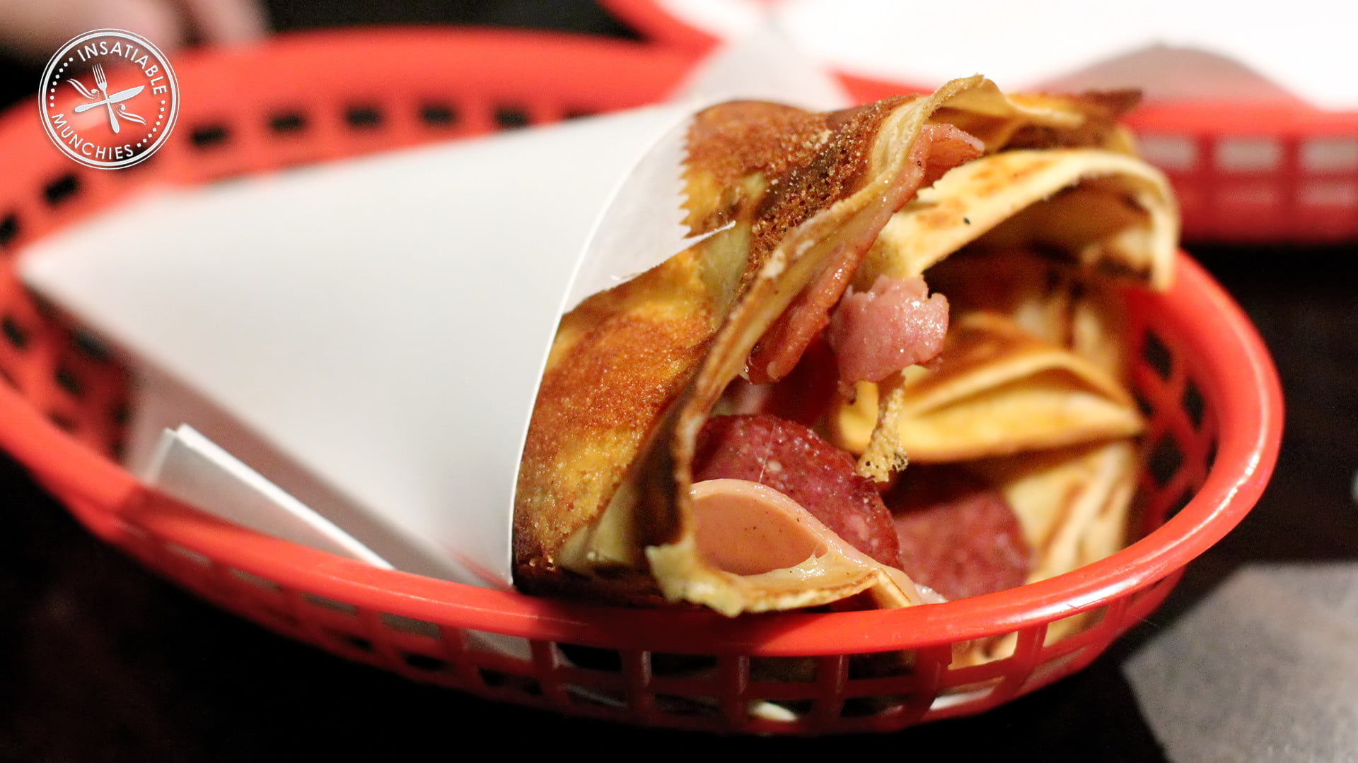 Meatlover's crepe from doughboy diner, with salami, ham, cabana sausage and lots of cheese.