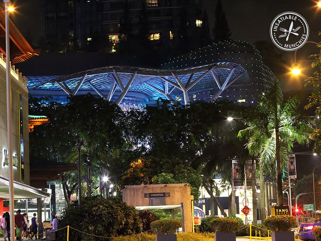 A landscape showing the lights of Orchard Road at night