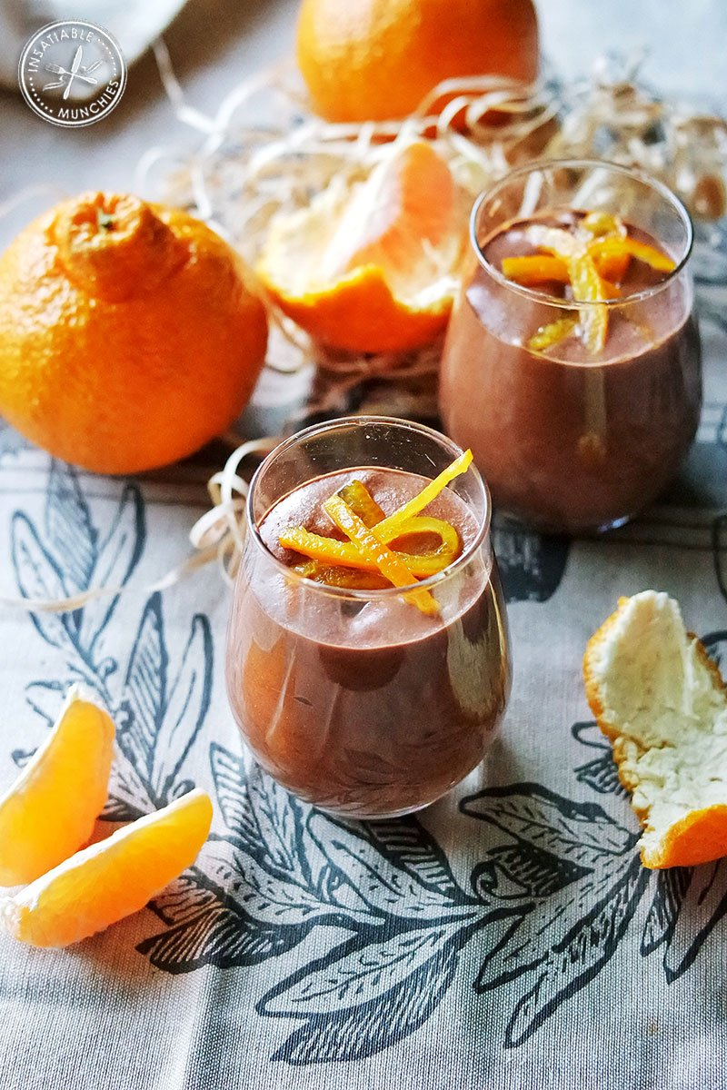 Velvety chocolate mousse is topped with candied sumo mandarin peel