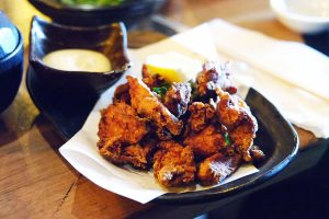 Fried chicken, served with fresh lemon and Japanese mayonnaise.