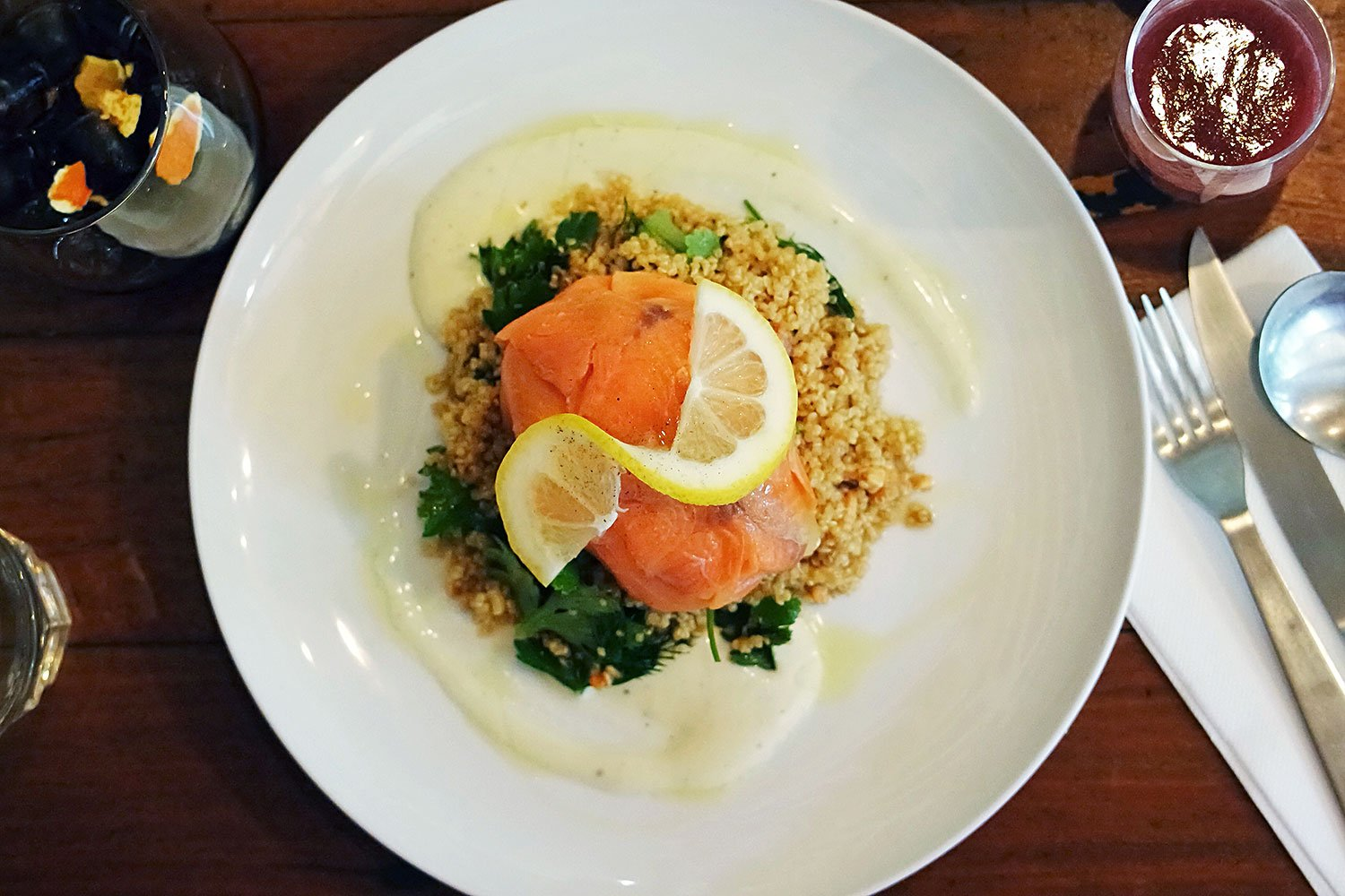 Dish for Single Origin's offering for Good Food Month 2014's Breakfast Club: Watermelon and Strawberry shot, Smoked Trout, Avocado and Poached Egg Parcel, with an Organic Quinoa, Herb and Nut Salad, and a honeycomb infused Geisha Brew, with tea or coffee for $20.