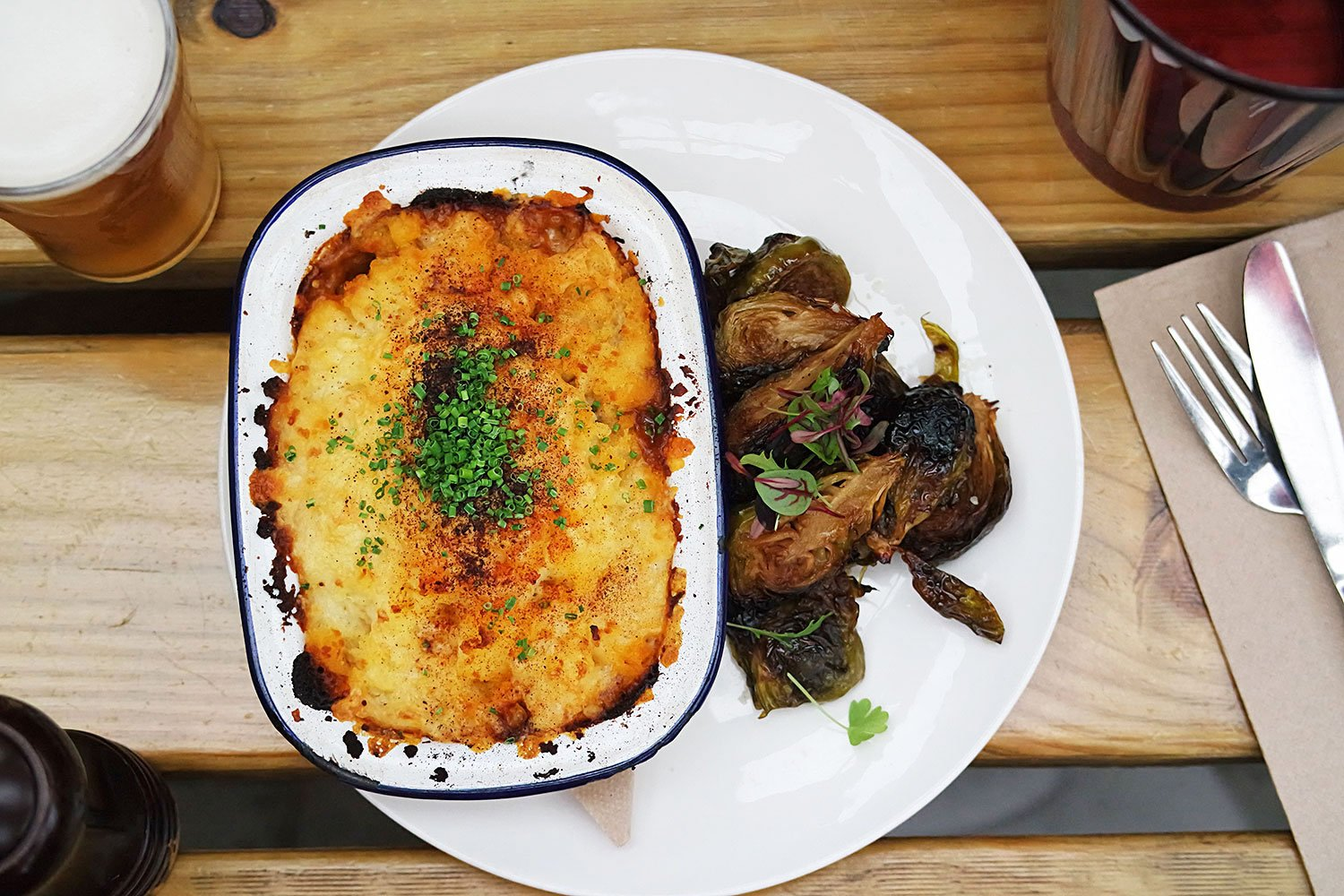 Wagyu beef cheek and tail cottage pie, cheesy mash and roasted brussel sprouts