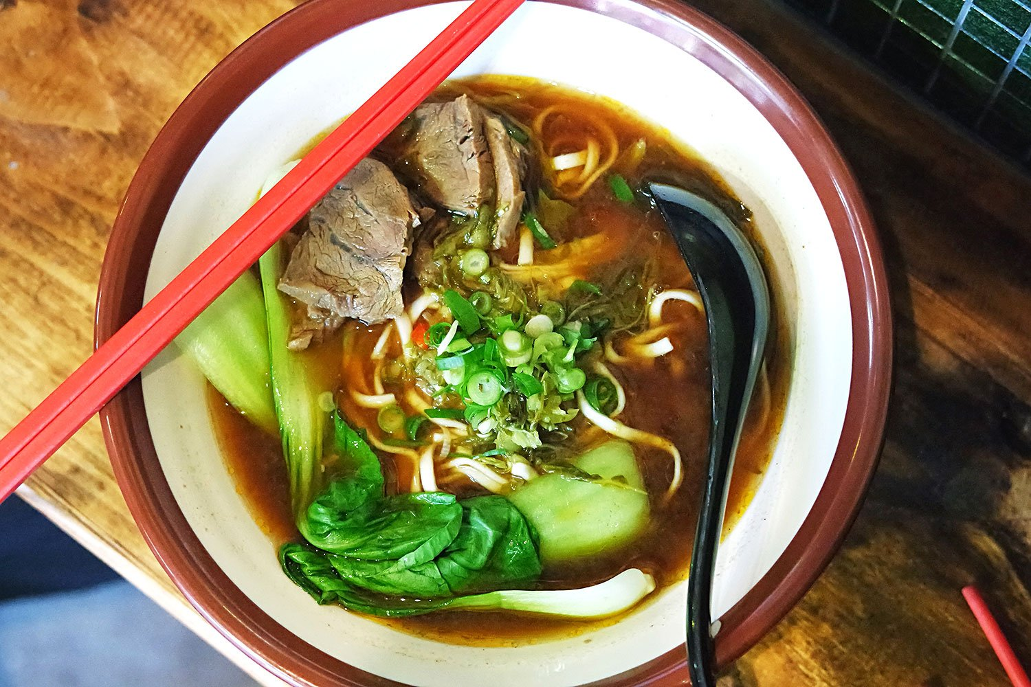 A classic bowl of Taiwanese beef noodle soup, served up at Bao Dao Taiwanese kitchen in Eastwood