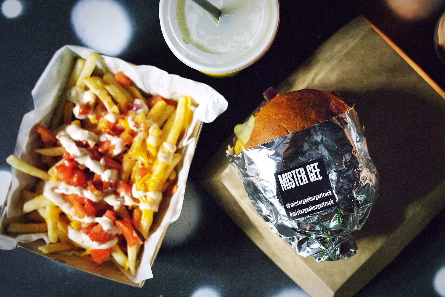 Trio of Cheese boogie burger, Dirty Fries and Baklava Milkshake from Mister Gee Burger Truck