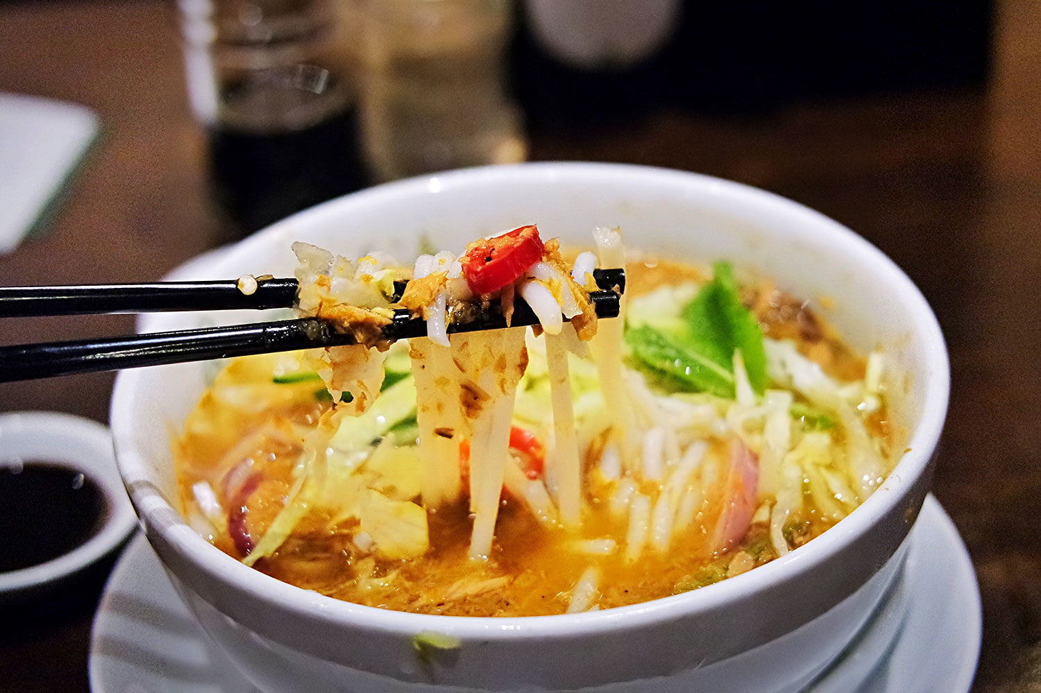 A bowl of assam laksa from Pappa Rich, in Chadstone