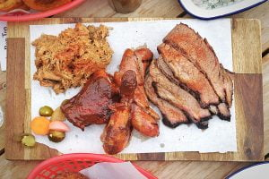 The smoker's lot - Beef brisket, chicken, pulled pork and pickles