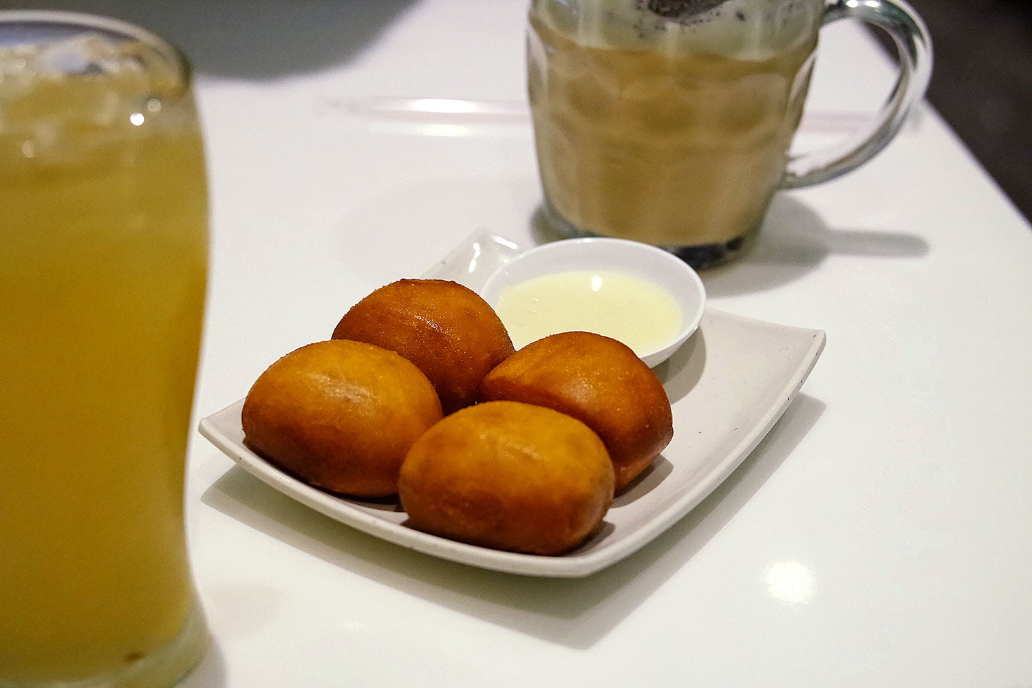 Deep fried milk buns with condensed milk