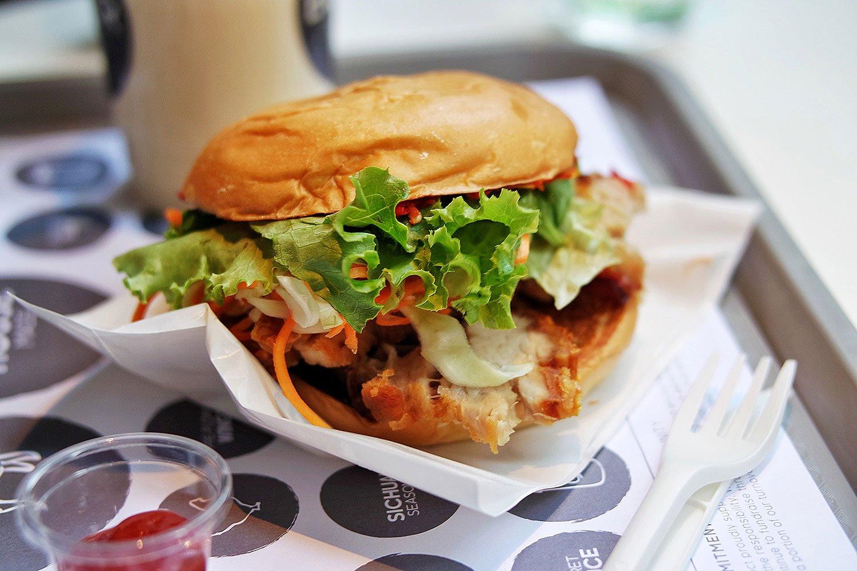 Spicy Roast Pork Burger with Salted Caramel Milkshake