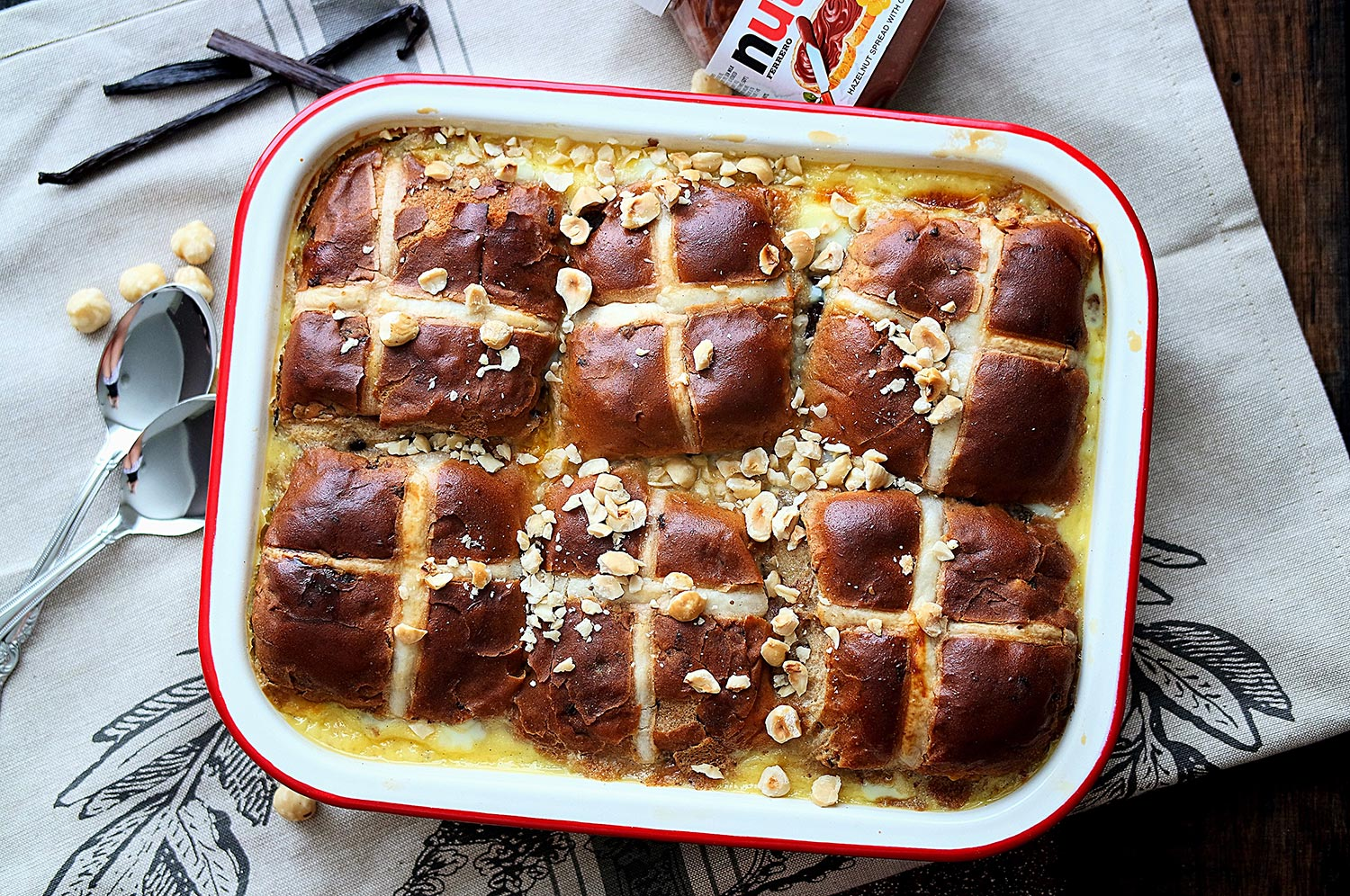 Nutella Hot Cross Bun Bread Pudding recipe - a great way to use up leftover hot cross buns from easter!