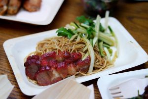Charsiu, stirred noodles and cucumber salad