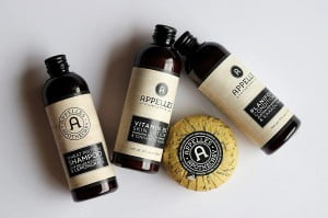 A selection of Appelles Apothecary travel sized products against a white background