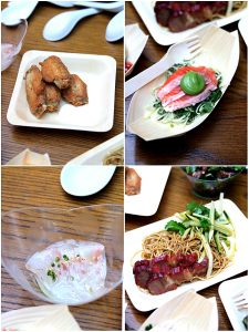 Clockwise from top left: Salt and pepper chicken wings with tofu mayonnaise (4 wings), Ocean trout, green papaya, green nahm jim, guacamole, Stirred egg noodles with barbecue pork, cucumber and coriander salad, Snapper sashimi with white soy dressing