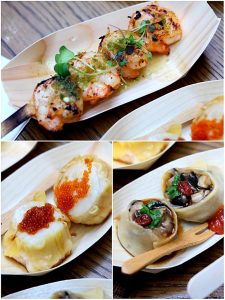 Clockwise from top: BBQ chilli prawn with chilli and lime dressing, Steamed scallop and prawn shumai, Steamed wild mushroom with water chestnuts