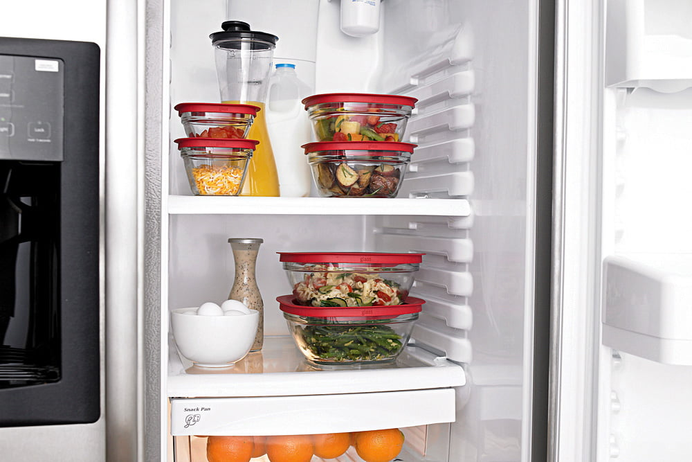 Filled food containers neatly stacked in the fridge