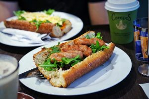Chipolata and Caramelised Onion Baguette