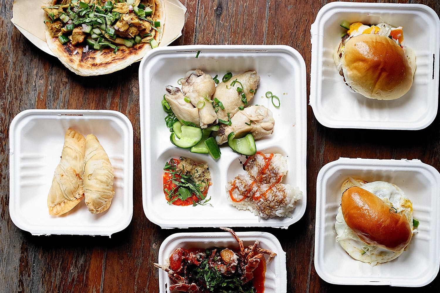 Aerial shot of our order from Yang's Malaysian Food Truck!