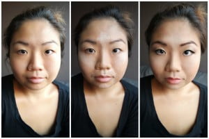 A panel of three pictures showing the different stages of contouring
