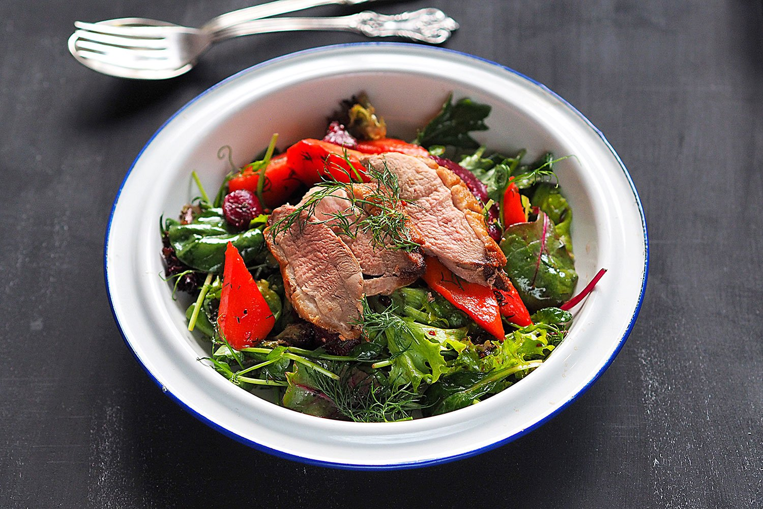 Weeknight duck salad with Carrots and Beetroots